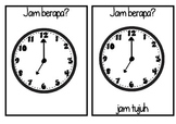 TELLING THE TIME oclock flashcards JAM BERAPA? bahasa indonesia LOTE Indonesian
