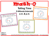 TELLING TIME - 5-Minute Intervals - Distinguish AM & PM