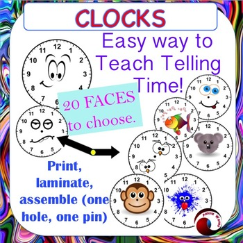 TELLING TIME CLOCKS to craft and use to teach analog time