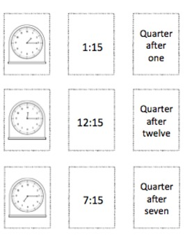 TELLING TIME to Quarter Hour - GO FISH CCSS 2.MD.C.7
