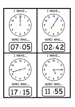 TELLING TIME - I HAVE WHO HAS CARDS