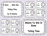 I HAVE WHO HAS MATH TELLING TIME 5 Minutes Minute To Win It GAME
