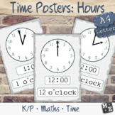 TELLING TIME Read Analogue Digital Clock Hours Printable Posters