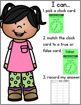 TELLING TIME TO 5 MINUTES TASK CARDS - TRUE OR FALSE EDITION
