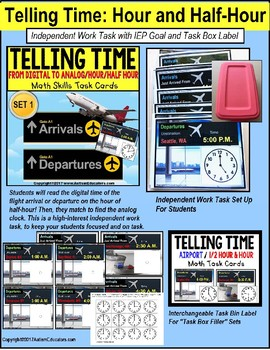 """TELLING TIME To The Hour and Half Hour Task Cards """"Task Box Filler"""" SET 1"""