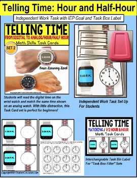 """TELLING TIME To The Hour and Half Hour Task Cards """"Task Box Filler"""" SET 2"""