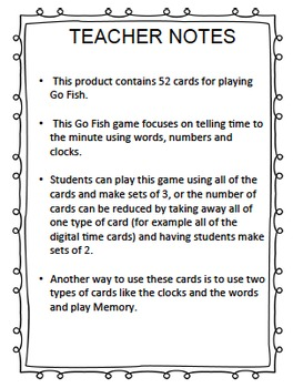 TELLING TIME to the Minute - GO FISH CCSS 3.MD.A.1
