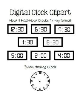 TELLING TIME~Practice Worksheets & Digital Hour/Half-Hour Clip Art ...