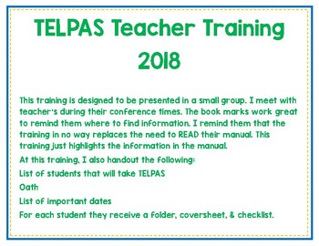 TELPAS Teacher Training with Bookmarks