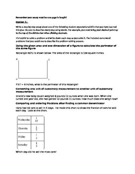 TELPAS Writing Prompts-Math