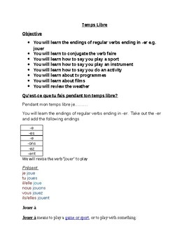 TEMPS LIBRE REVIEW WORKSHEETS (HIGHER)