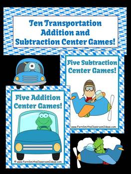Addition and Subtraction Ten Transportation Themed Mix and