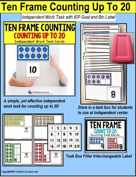 "TEN FRAME Counting To 20 TASK CARDS for Autism ""Task Box Filler"""