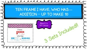 TEN FRAME I HAVE, WHO HAS… ADDITION – UP TO MAKE 10