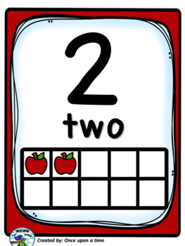 TEN FRAME POSTERS WITH APPLES (0-20)