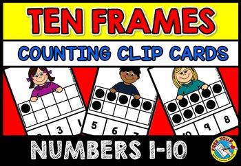 TEN FRAMES ACTIVITIES: KID TEN FRAMES CLIP CARDS: PRE K+ K
