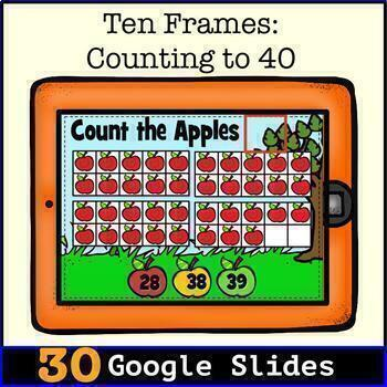 TEN FRAMES-Counting to 40:  Digital Task Cards