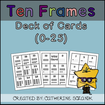 TEN FRAMES Deck of Playing Cards (0-25) Black and White Version