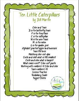 TEN LITTLE CATERPILLARS   BOOK UNIT