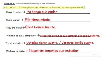 TENER Expressions (Usage and Vocab List): Spanish Quick Lesson