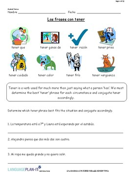 TENER PHRASES REVIEW TWO (SPANISH)