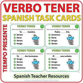 tener present tense spanish task cards by woodward education. Black Bedroom Furniture Sets. Home Design Ideas