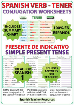 tener spanish verb conjugation worksheets present tense tpt. Black Bedroom Furniture Sets. Home Design Ideas