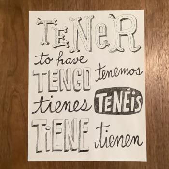TENER ~Spanish verb poster ~tengo ~Word wall ~bulletin board ~classroom decor