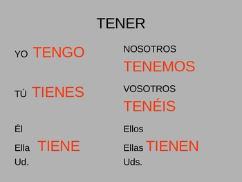 TENER powerpoint  Introduction to verb and useful expressions