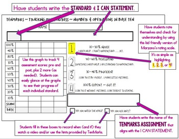 TENMARKS DATA SHEETS - NO PREP - READY TO USE - TOOLS FOR COMMON CORE
