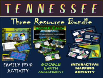 TENNESSEE 3-Resource Bundle (Map Activty, GOOGLE Earth, Family Feud Game)
