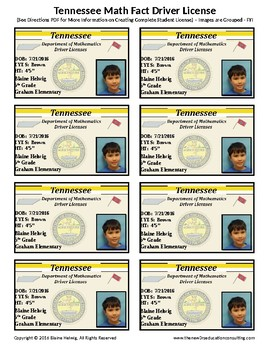 TENNESSEE Math Driver's License - Math Fact Incentive Program -TEMPLATES - FREE