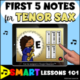 TENOR SAX First Five Notes BOOM CARDS™ Beginner Band Music