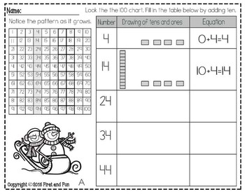 TENS AND ONE NO PREP WINTER PRINTABLES COMMON CORE MAFS ENVISION