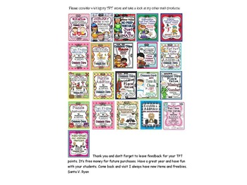 TENS AND ONES MATCHING MAT AND CENTER GAME COMMON CORE ENVISION MAFS