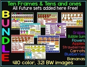 PLACE VALUE CLIPART BUNDLE;TENS & ONES & TEN FRAMES-Future sets added here