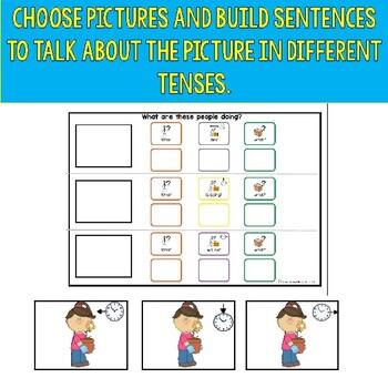 TENSES sentence building: past, present, future colorful semantics + TASK CARDS