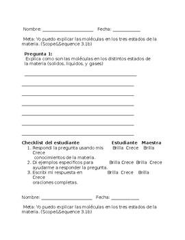 TERCER GRADE - CIENCIAS: ESTADO DE LA MATERIA (MATTER)