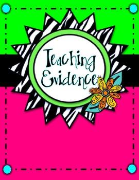 Teacher Evaluation Evidence Binder - Charlotte Danielson Model - Zebra Neon
