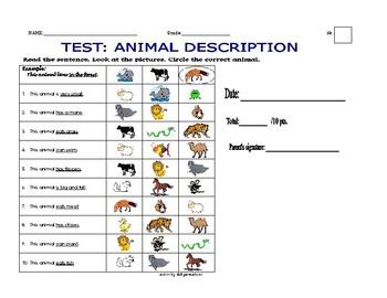 TEST: ANIMAL DESCRIPTION + Answer Key (comprehension)