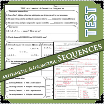 TEST Arithmetic & Geometric Sequences Summative Assessment