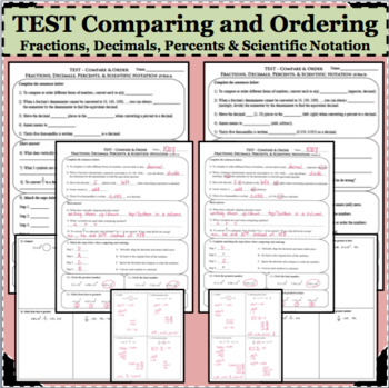 TEST Compare Order Fractions Decimals Percents Scientific Notation ASSESSMENT