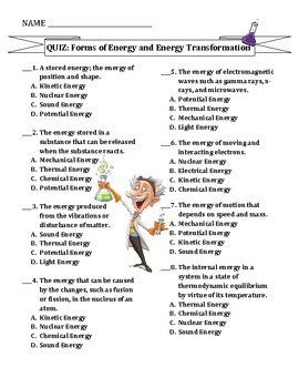TEST: Forms of Energy & Energy Transformations by Travis Terry | TpT