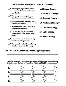Test Forms Of Energy Energy Transformations By Travis Terry Tpt