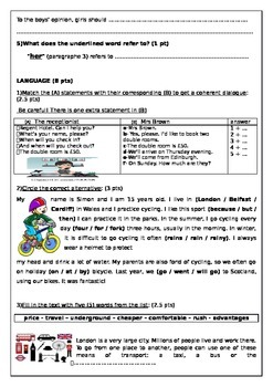 TEST INCLUDING READING COMPREHENSION+LANGUAGE+WRITING (Elementary Level)