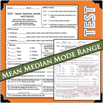TEST Mean Median Mode Range ASSESSMENT Statistics Measures Central Tendency