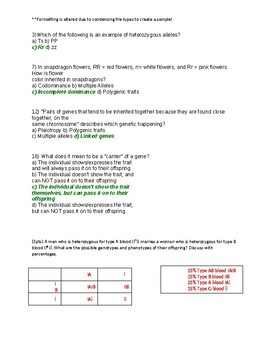 TEST: Mendellian Genetics & Alternate Inheritance Patterns