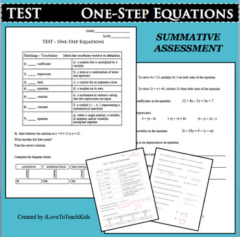TEST One-Step Equations Summative Assessment Review Skills Test Prep