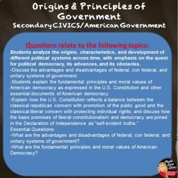 Origins and  Principles of Government TEST  (Civics)