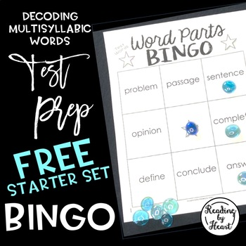 TEST-PREP BINGO Decoding Multisyllabic Test Words FREE Starter Set